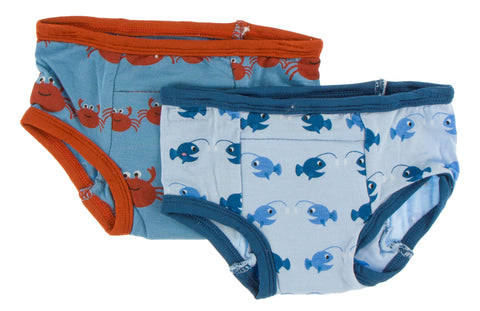 KicKee Pants Blue Moon Crab Family & Pond Angler Fish Training Pants Set Basically Bows & Bowties