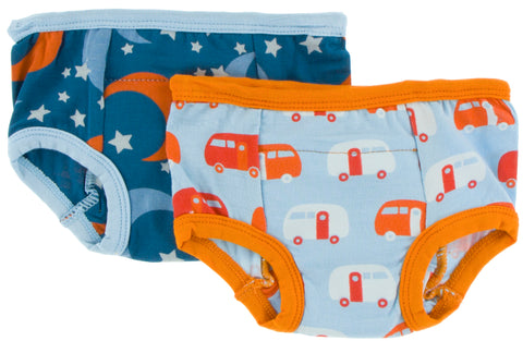 KicKee Pants Twilight Moon and Stars & Pond Camper Training Pants Set