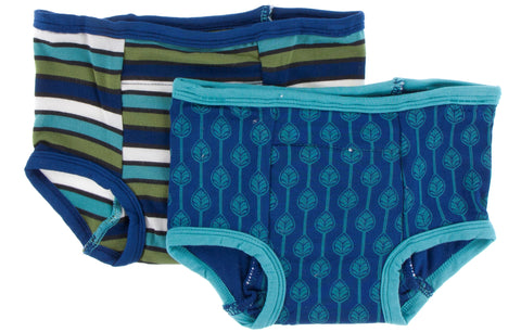 KicKee Pants Botany Grasshopper Stripe and Navy Leaf Lattice Training Pants Set