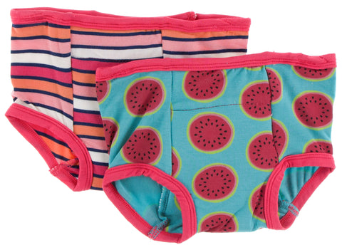KicKee Pants Botany Red Ginger Stripe and Neptune Watermelon Training Pants Set