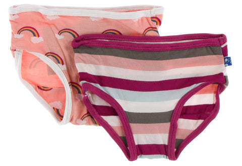 KicKee Pants Blush Rainbow and Geology Stripe Girls Underwear Set Basically Bows & Bowties