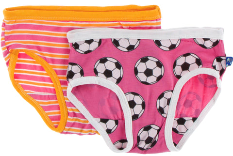 KicKee Pants Flamingo Brazil Stripe & Flamingo Soccer Girls Underwear Set