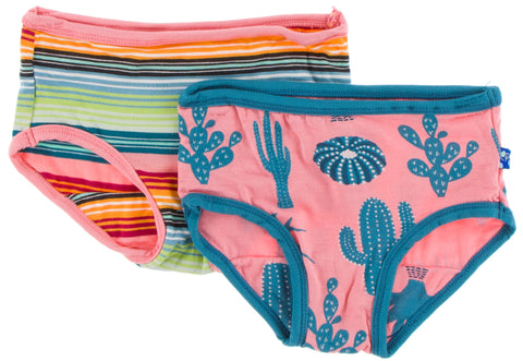 KicKee Pants Cancun Strawberry Stripe and Strawberry Cactus Girl Underwear Set