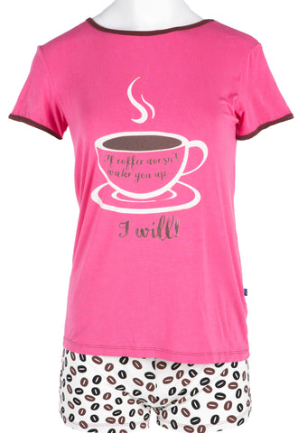 KicKee Pants Natural Coffee Beans Women's Short Sleeve Pajama Set with Shorts-PRESALE - Basically Bows & Bowties