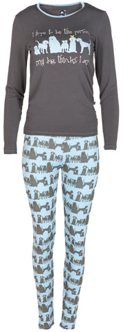 KicKee Pants London Dogs Women's Long Sleeve Fitted Pajama Set