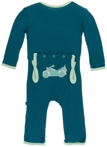 KicKee Pants Heritage Blue Motorcycle Applique Coverall with Zipper