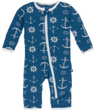 KicKee Pants Twilight Anchor Coverall with Zipper - Basically Bows & Bowties