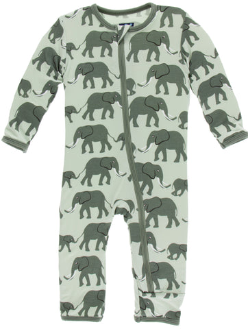 KicKee Pants Aloe Elephants Coverall with Zipper - Basically Bows & Bowties