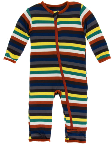 KicKee Pants Dark London Stripe Coverall with Zipper-PRESALE