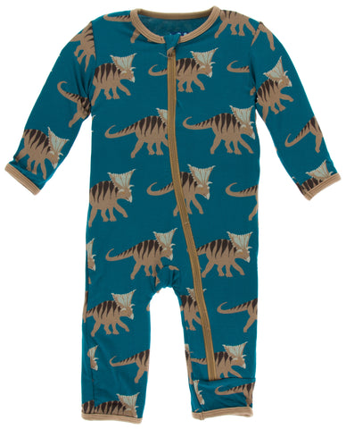 KicKee Pants Heritage Blue Kosmoceratops Coverall with Zipper Basically Bows & Bowties