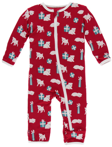 KicKee Pants Crimson Puppies and Presents Coverall with Zipper Basically Bows & Bowties