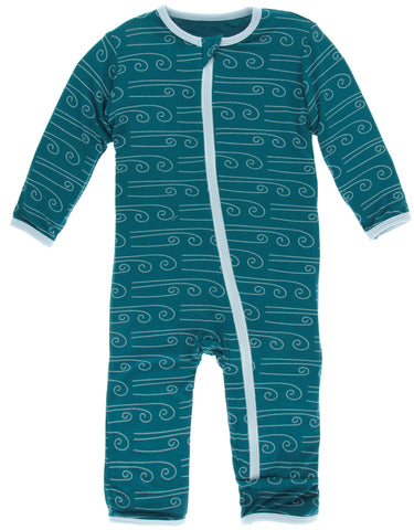 KicKee Pants Heritage Blue Winds Coverall with Zipper Basically Bows & Bowties