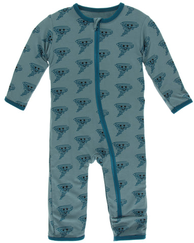 KicKee Pants Dusty Sky Happy Tornado Coverall with Zipper Basically Bows & Bowties