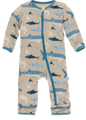 KicKee Pants Burlap Sharks Coverall with Zipper