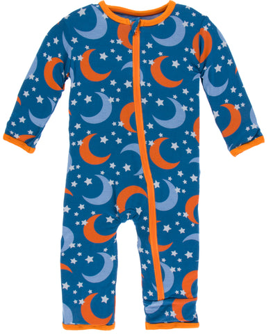 KicKee Pants Twilight Moon and Stars Coverall with Zipper