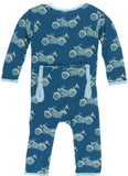 KicKee Pants Heritage Blue Motorcycle Coverall with Zipper