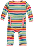 KicKee Pants Cancun Strawberry Stripe Coverall with Zipper