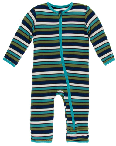 KicKee Pants Botany Grasshopper Stripe Coverall with Zipper
