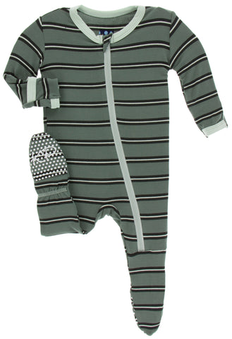 KicKee Pants Succulent Kenya Stripe Footie with Zipper