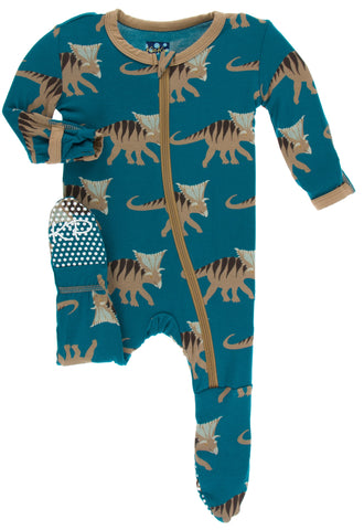 KicKee Pants Heritage Blue Kosmoceratops Footie with Zipper Basically Bows & Bowties