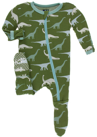 KicKee Pants Moss Sauropods Footie with Zipper