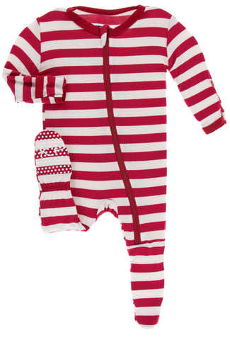 KicKee Pants Candy Cane Stripe 2019 Footie with Zipper Basically Bows & Bowties