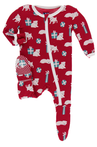 KicKee Pants Crimson Puppies and Presents Footie with Zipper Basically Bows & Bowties