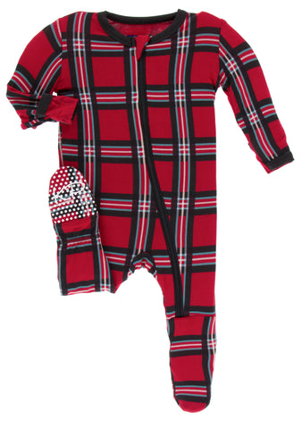 KicKee Pants Christmas Plaid 2019 Footie with Zipper Basically Bows & Bowties