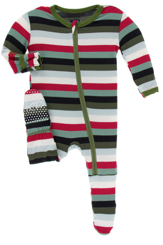 KicKee Pants Christmas Multi Stripe Footie with Zipper Basically Bows & Bowties
