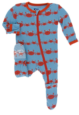 KicKee Pants Blue Moon Crab Family Footie with Zipper