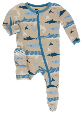 KicKee Pants Burlap Sharks Footie with Zipper
