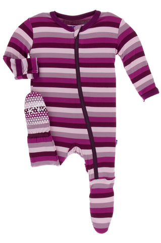 KicKee Pants Coral Stripe Footie with Zipper