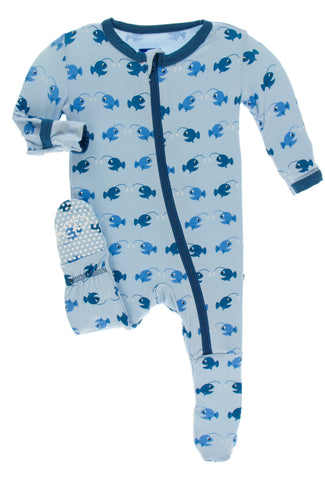 KicKee Pants Pond Angler Fish Footie with Zipper