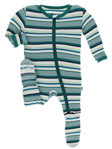 KicKee Pants Multi Agriculture Stripe Footie with Zipper