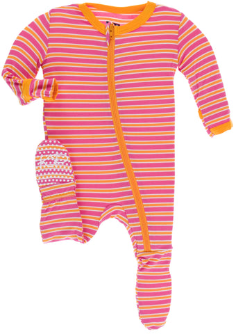KicKee Pants Flamingo Brazil Stripe Footie with Zipper-PRESALE - Basically Bows & Bowties