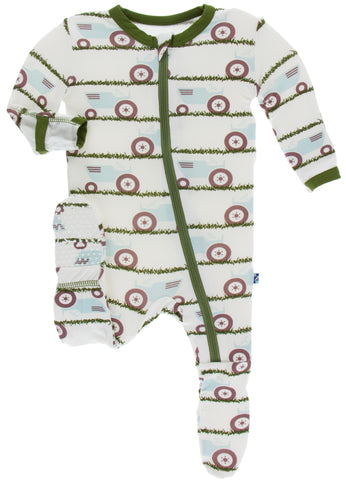 KicKee Pants Natural Tractor and Grass Footie with Zipper