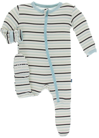 KicKee Pants Tuscan Afternoon Stripe Footie with Zipper