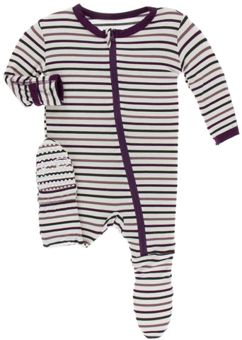 KicKee Pants Tuscan Vineyard Stripe Footie with Zipper