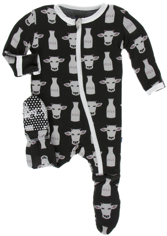 KicKee Pants Zebra Tuscan Cow Footie with Zipper