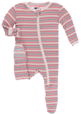 KicKee Pants India Dawn Stripe Footie with Zipper