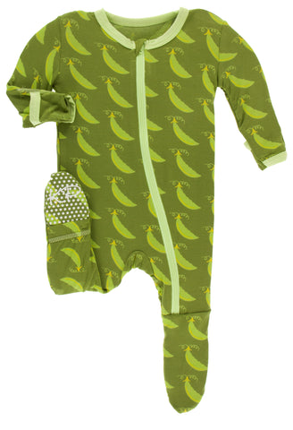 KicKee Pants Grasshopper Sweet Peas Footie with Zipper