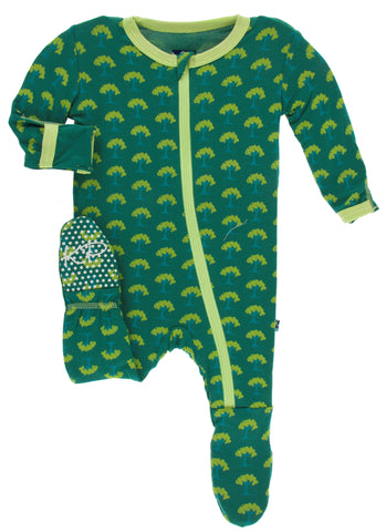 KicKee Pants Ivy Mini Trees Footie with Zipper
