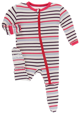 KicKee Pants Chemistry Stripe Footie with Zipper