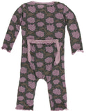 KicKee Pants African Violets Muffin Ruffle Coverall with Zipper - Basically Bows & Bowties