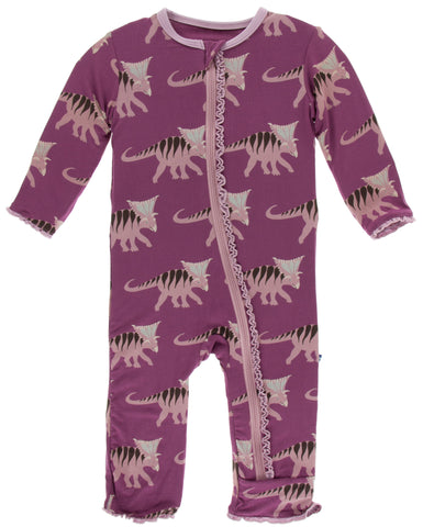 KicKee Pants Amethyst Kosmoceratops Muffin Ruffle Coverall with Zipper Basically Bows & Bowties