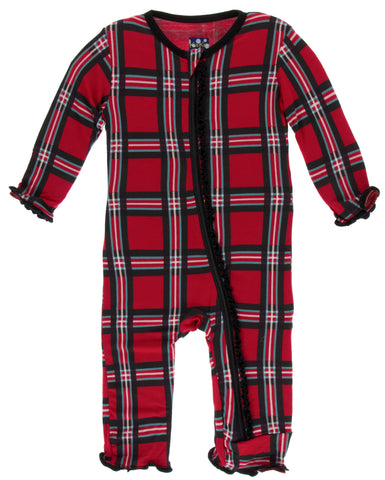 KicKee Pants Christmas Plaid 2019 Muffin Ruffle Coverall with Zipper Basically Bows & Bowties