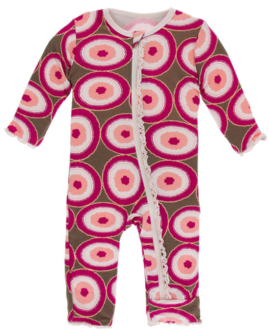 KicKee Pants Falcon Agate Slices Muffin Ruffle Coverall with Zipper Basically Bows & Bowties