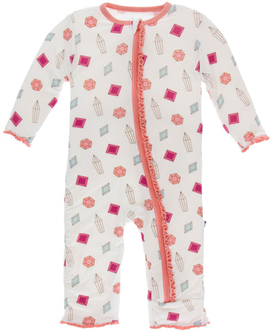 KicKee Pants Natural Gems Muffin Ruffle Coverall with Zipper Basically Bows & Bowties