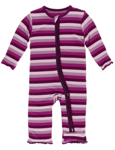 KicKee Pants Coral Stripe Muffin Ruffle Coverall with Zipper