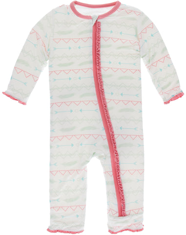 KicKee Pants Pistachio Southwest Muffin Ruffle Coverall with Zipper